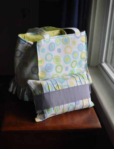 Ruffled bag with diaper pouch